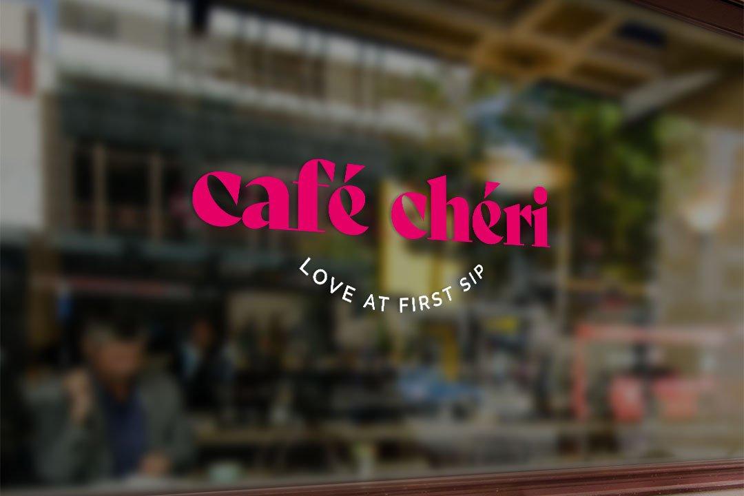ArnoStudio Portfolio : Café Chéri - window vinyl mockup